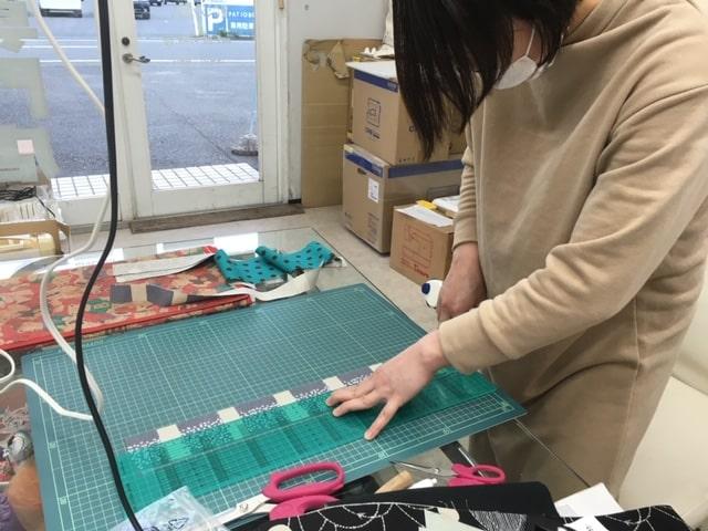 手作り教室での作品 ステッチコラージュのトートバッグ04